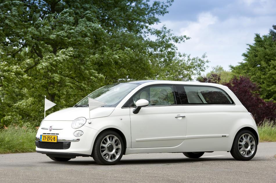 Rouwauto wit Fiat 500